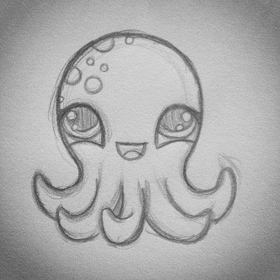Рисунок осьминога карандашом
