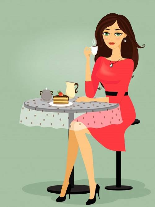 девушка пьющая кофе