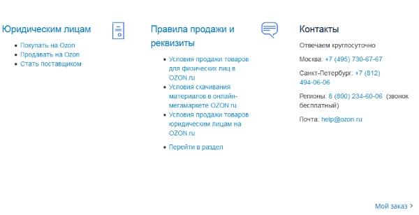 Контакты поддержки Озон.ру