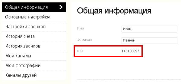 Номер пользователя ICQ