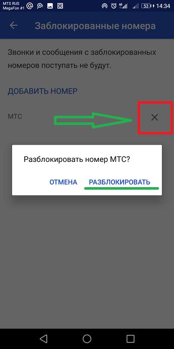 Иллюстрация разблокирования номера