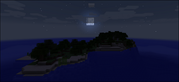 Луна над островом Майнкрафт