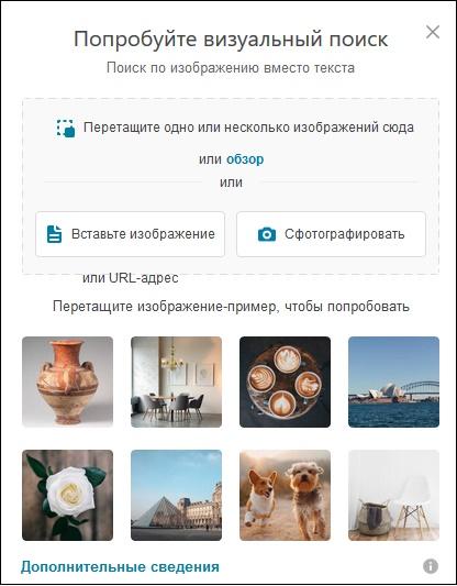 Окно визуального поиска Bing