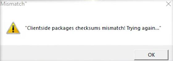 Окно ошибки Clientside packages checksums mismatch