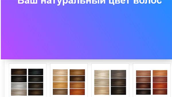 Выбор цвета волос в тесте