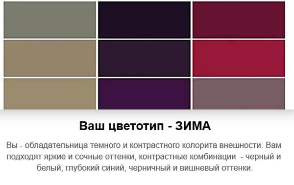 Определённый цветотип в тесте