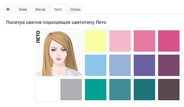 Подходящие цвета под цветотип