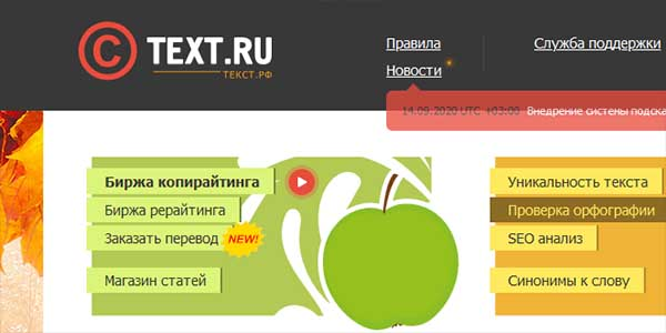 Сайт text.ru