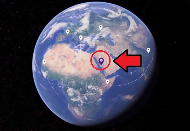 Кааба в Мекке на карте Земли