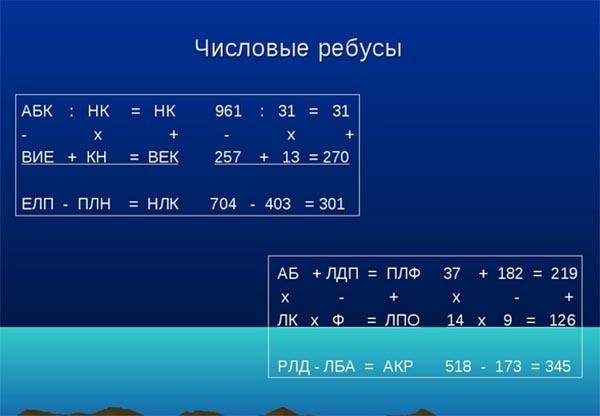 Ребусы, состоящие из чисел