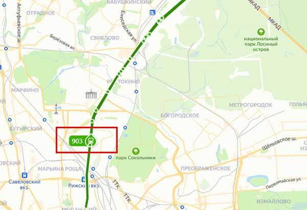 Маршрут автобуса на карте