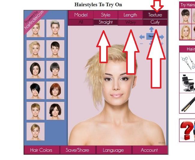 Клавиши для выбора типа волос