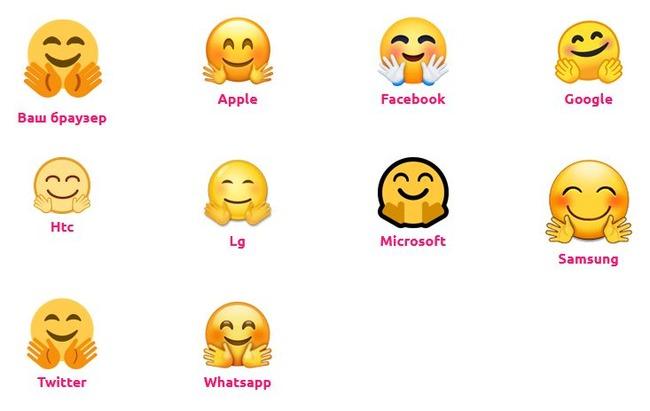 Emoji с раскрытыми руками