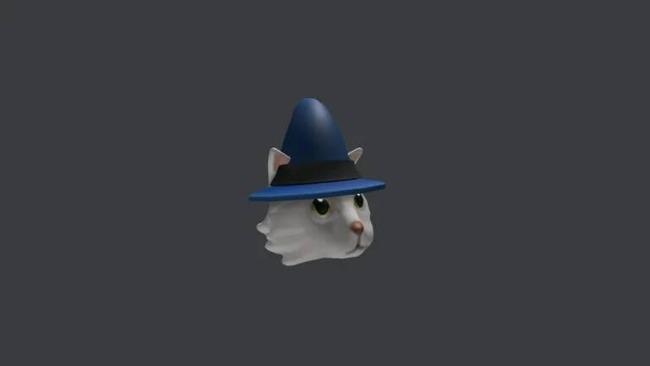 Голова белого кота в шапке волшебника