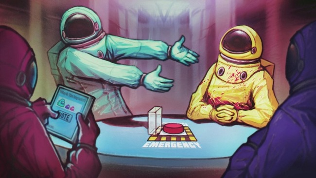 Четыре члена экипажа в цветных скафандрах за столом