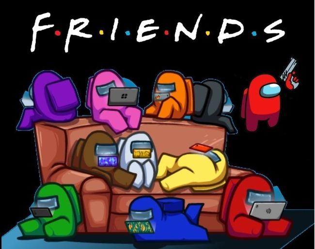 Много пользователей на диване под надписью Friends