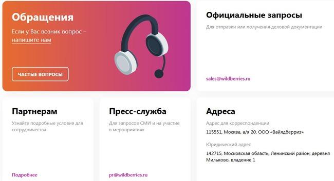 Скрин раздела Контакты