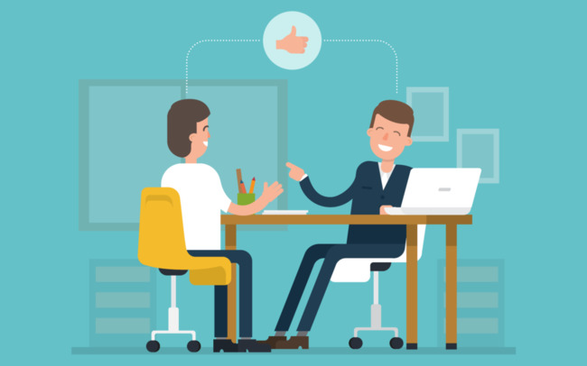 Изображение с двумя нарисованными человечками на интервью