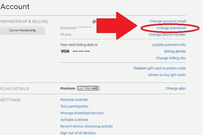 Строчка для изменения пароля через Профиль пользователя