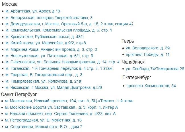 Список адресов ПВЗ