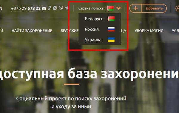 Выбор страны для поиска