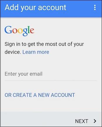 Экран добавления аккаунта