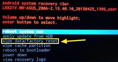 Опция Wipe Data
