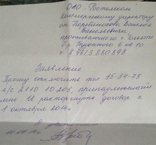 Бумажная копия заявления
