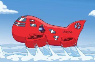 Нарисованный красный дирижабль