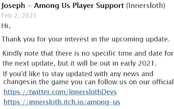 Скриншот письма от создателей игры