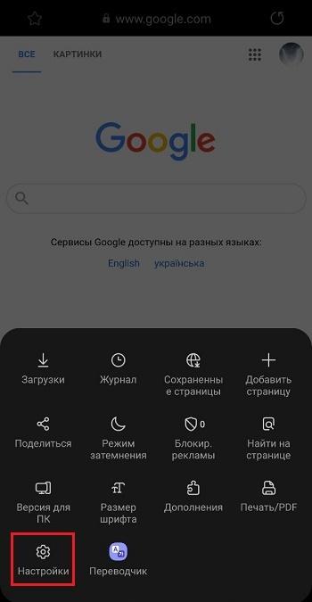 Опция настроек в браузере Самсунг