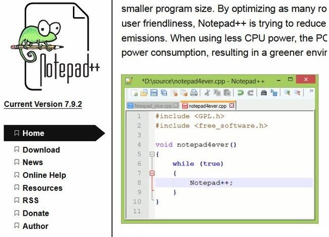 Скриншот с сайта создателя Notepad++