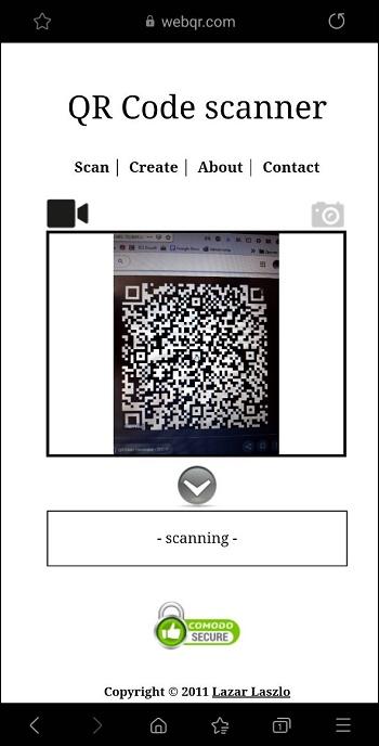 Скрин сканинрования на сайте