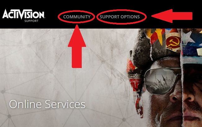 Кнопки для поиска решений на сайте Activision