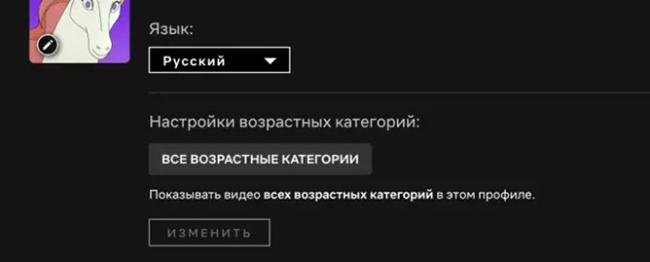Изменение языка на русский в аккаунте Нетфликс