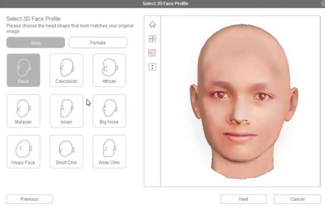 Настройка частей лица