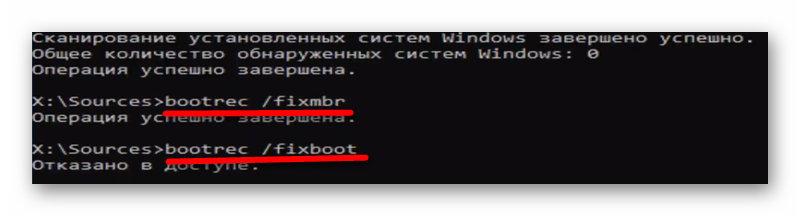 Команды bootrec /fixmbr и bootrec /fixboot