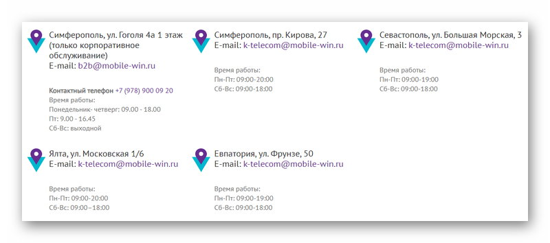 Контакты офисов оператора Win mobile