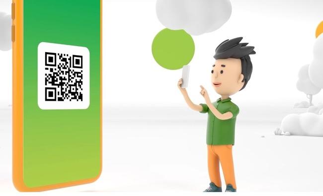 QR-код на экране мобильника