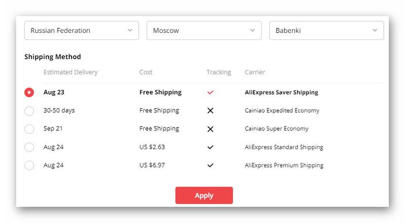 Стоимость доставки товаров на АлиЭкспресс