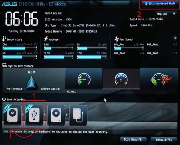 Загрузка Windows с флешки и настройка BIOS