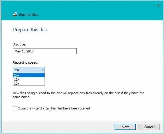 Выберите имя диска и скорость записи