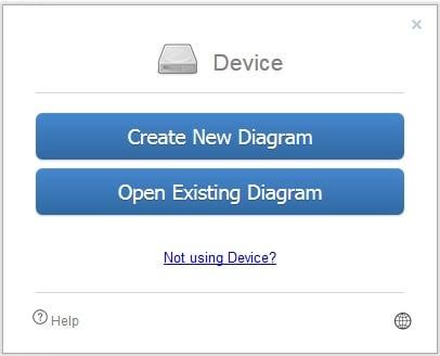 "Нажмите на ""Create New Diagram"" для создания нового чертежа"