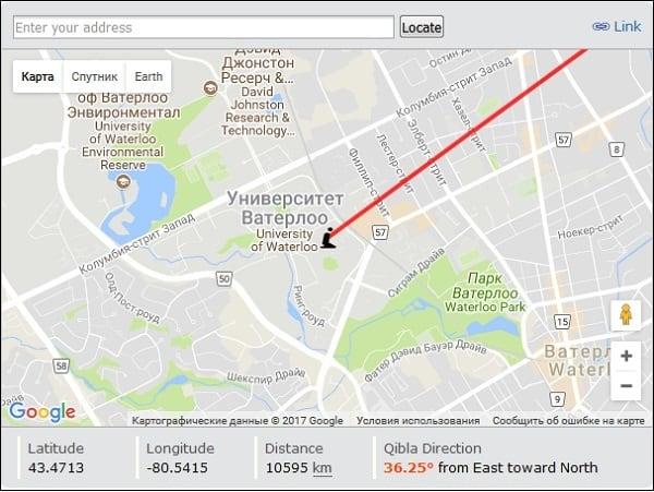 """Карта с направлением киблы на """"Eqibla.com"""""""