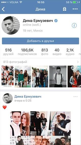 Копируем ссылку профиля через приложение на Айфон