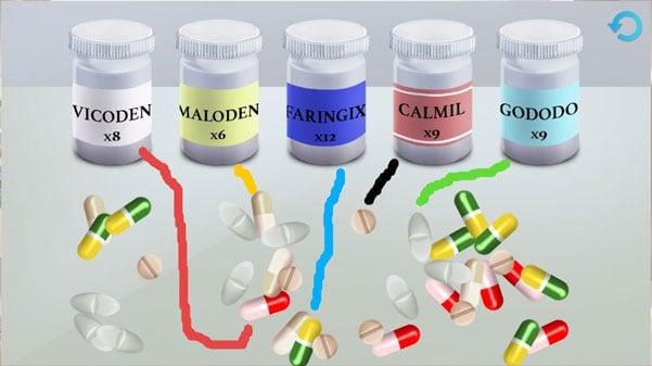 Соответствие баночек и таблеток по цвету