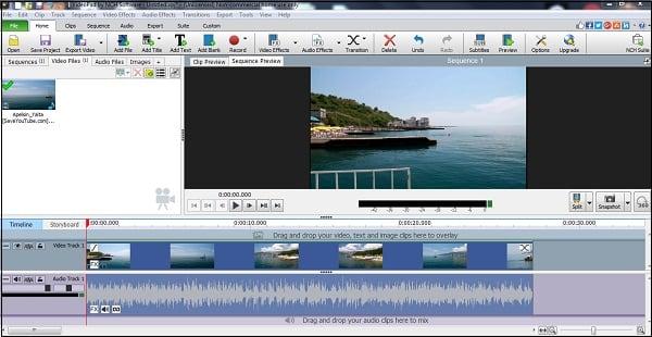 "Рабочий экран программы ""VideoPad Video Editor"""