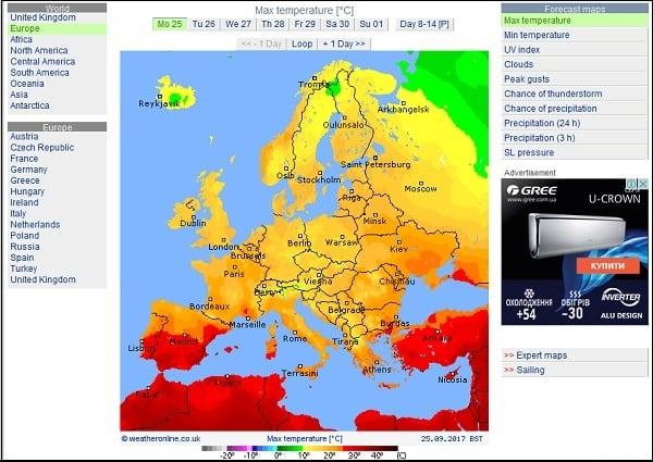 Сервис weatheronline.co.uk позволяет отображать погодные условия по множеству параметров