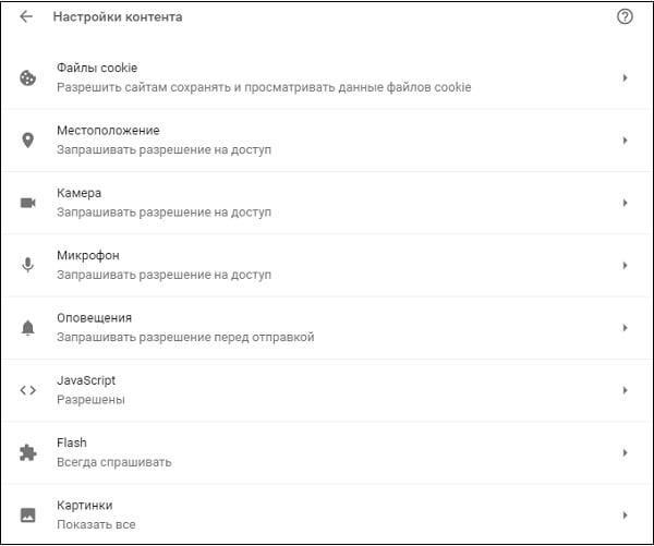 Некоторые из настроек сетевого контента браузера Гугл Хром