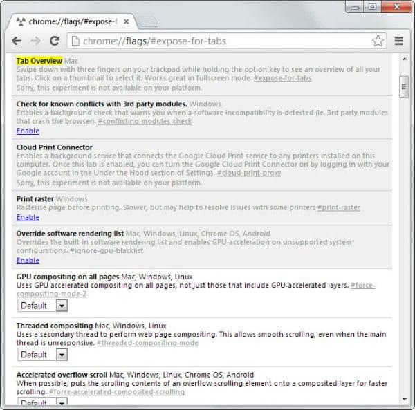 Раздел Chrome Flags браузера Google Chrome